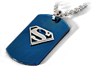 Superman Dog Tag Anh�nger inkl. Kette, blau